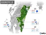 2020年07月11日の宮崎県の実況天気
