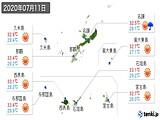 2020年07月11日の沖縄県の実況天気