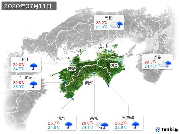 四国地方(2020年07月11日の天気