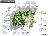 2020年07月12日の関東・甲信地方の実況天気