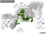 2020年07月12日の東海地方の実況天気