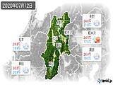 2020年07月12日の長野県の実況天気