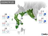2020年07月12日の道南の実況天気