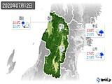 2020年07月12日の山形県の実況天気