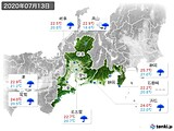 2020年07月13日の東海地方の実況天気