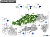 2020年07月13日の中国地方の実況天気