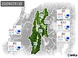 2020年07月13日の長野県の実況天気