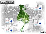2020年07月13日の兵庫県の実況天気