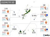 2020年07月13日の沖縄県の実況天気