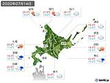2020年07月14日の北海道地方の実況天気