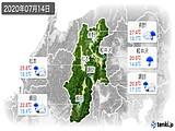 2020年07月14日の長野県の実況天気