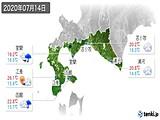 2020年07月14日の道南の実況天気