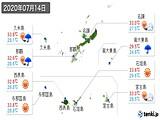 2020年07月14日の沖縄県の実況天気