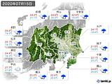 2020年07月15日の関東・甲信地方の実況天気