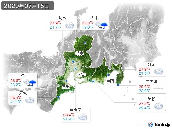 東海地方(2020年07月15日の天気