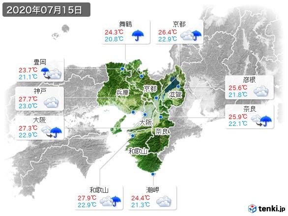 近畿地方(2020年07月15日の天気