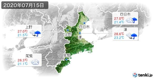 三重県(2020年07月15日の天気
