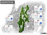 2020年07月16日の長野県の実況天気