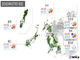 2020年07月16日の長崎県の実況天気