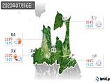 2020年07月16日の青森県の実況天気