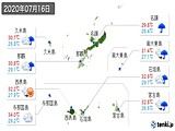 2020年07月16日の沖縄県の実況天気