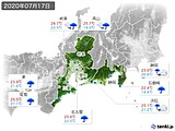 2020年07月17日の東海地方の実況天気