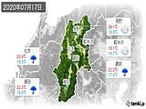 2020年07月17日の長野県の実況天気