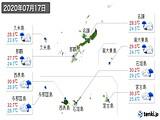 2020年07月17日の沖縄県の実況天気
