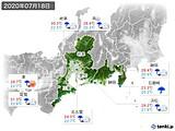 2020年07月18日の東海地方の実況天気