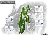 2020年07月18日の長野県の実況天気