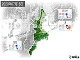 2020年07月18日の三重県の実況天気
