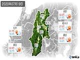 2020年07月19日の長野県の実況天気