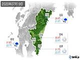 2020年07月19日の宮崎県の実況天気