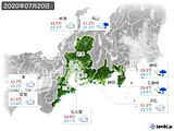 2020年07月20日の東海地方の実況天気