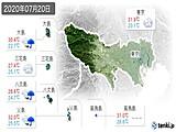 2020年07月20日の東京都の実況天気
