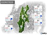 2020年07月20日の長野県の実況天気