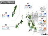 2020年07月20日の長崎県の実況天気