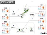2020年07月20日の沖縄県の実況天気