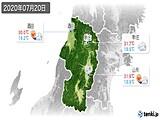 2020年07月20日の山形県の実況天気
