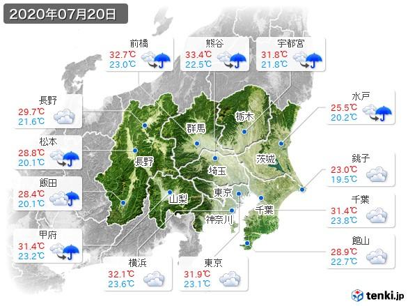 関東・甲信地方(2020年07月20日の天気