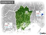2020年07月21日の岡山県の実況天気