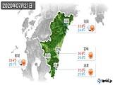 2020年07月21日の宮崎県の実況天気