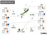 2020年07月21日の沖縄県の実況天気