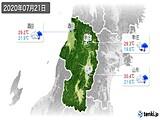2020年07月21日の山形県の実況天気