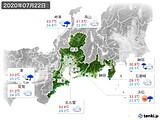 2020年07月22日の東海地方の実況天気
