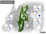2020年07月23日の長野県の実況天気
