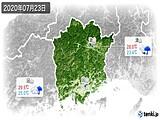 2020年07月23日の岡山県の実況天気