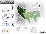 2020年07月24日の東京都の実況天気
