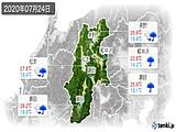 2020年07月24日の長野県の実況天気
