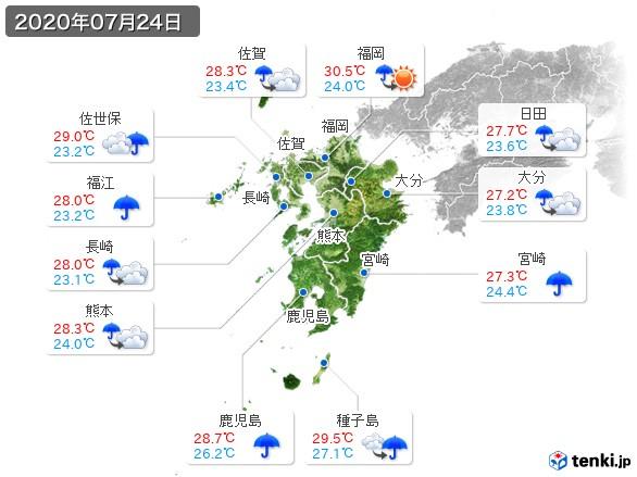 九州地方(2020年07月24日の天気